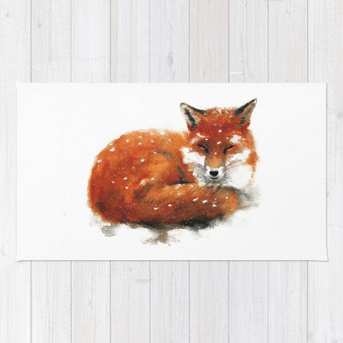 Sleeping Red Fox Rug By Miraguerquin Society6