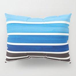 Prussian Blue Minimalist Watercolor Mid Century Staggered Stripes Rothko Color Block Geometric Art Pillow Sham