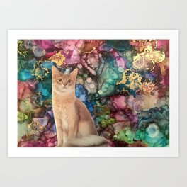 Cat with a Fluffy Tail Art Print