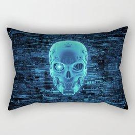 Gamer Skull BLUE TECH / 3D render of cyborg head Rectangular Pillow
