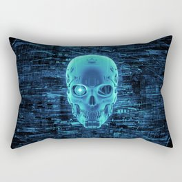 Gamer Skull BLUE TECH / 3D render of cyborg head Rectangular Pillow