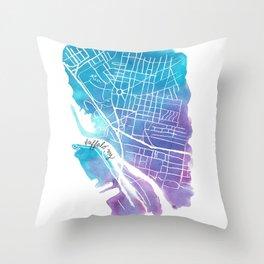 Buffalo, NY City Grid Throw Pillow