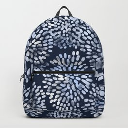 Abstract Navy Watercolor Line Flowers Backpack