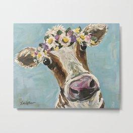 Flower Crown Cow Art, Cute Cow With Flower Crown Metal Print