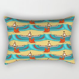 Isis and Nephtys - Turquoise and yellow Rectangular Pillow