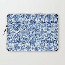 Pattern in Denim Blues on White Laptop Sleeve