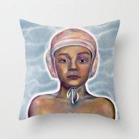 boy Throw Pillows featuring Boy by Laura O'Connor