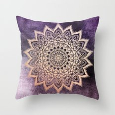 GOLD NIGHTS MANDALA IN PURPLE Throw Pillow