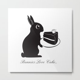 Bunnies Love Cake, Bunny Illustration, cake lovers, animal lover gift Metal Print