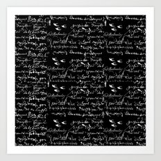 White French Script on Black background with White birds Art Print