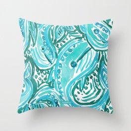 BLUE WHALE TWIRL Throw Pillow