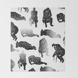 b&w fading figures Throw Blanket