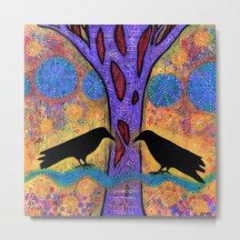 Two Ravens Sit & Reflect on Life Metal Print