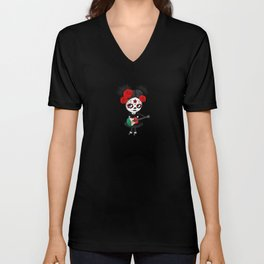 Day of the Dead Girl Playing Mexican Flag Guitar Unisex V-Neck