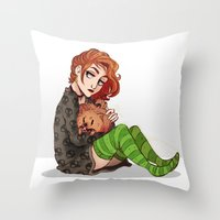dana scully Throw Pillows featuring Scully & Queequeg - Fluffy Punks by Sutexii