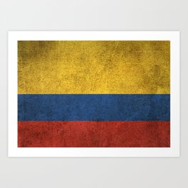 Old and Worn Distressed Vintage Flag of Colombia Art Print