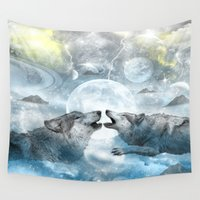 wolves Wall Tapestries featuring Wolves by haroulita