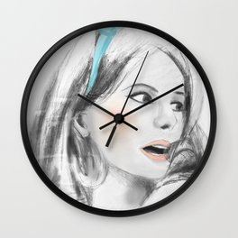 The Umbrellas of Cherbourg black & white by 9IIRLUSTRATION Wall Clock