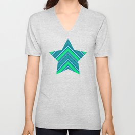 Modern Diagonal Chevron Stripes in Shades of Blue and Green Unisex V-Neck
