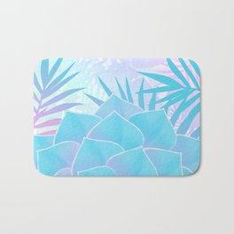 Pastel Rainbow Tropical Flower Paradise Design Bath Mat