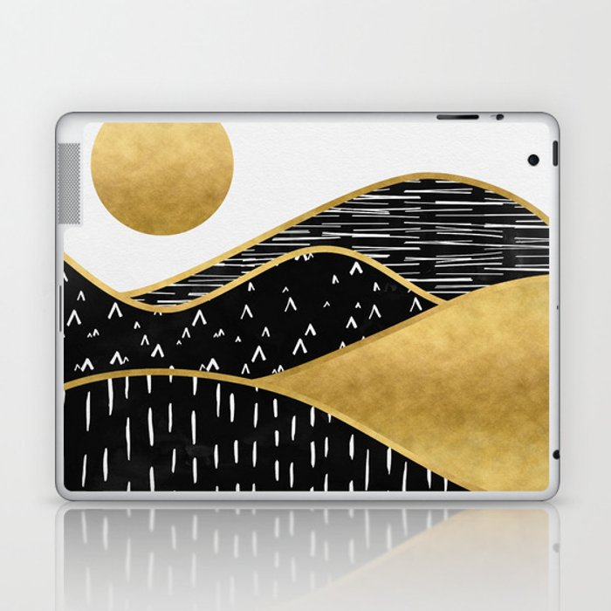 Gold Sun, digital surreal landscape Laptop & iPad Skin