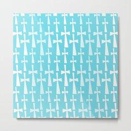 The Cross - Light Blue Metal Print