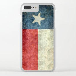 Texas flag, Retro distressed texture Clear iPhone Case