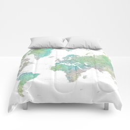 "Highly detailed watercolor world map, ""Oriole"" Comforters"