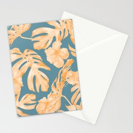 Island Hibiscus Palm Coral Teal Blue Stationery Cards