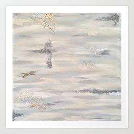 Neutral Driftwood Light Gray Abstract Beachy Painting Art Print