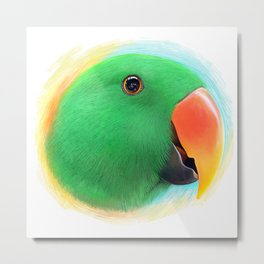 Green male eclectus parrot realistic painting Metal Print
