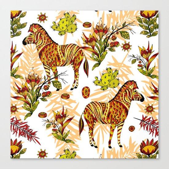 Zebras white pattern Canvas Print