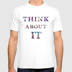 Space: Think About It Mens Fitted Tee SMALL White