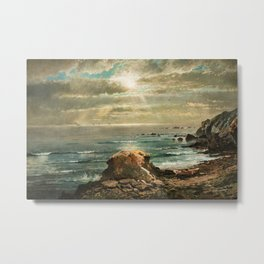 Sunlight through the Clouds over a Rocky Coast by Edmond Darch Lewis Metal Print