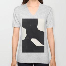 Mid Century Modern Minimalist Abstract Art Brush Strokes Black & White Ink Art Color Field Maze Unisex V-Neck