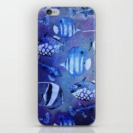 Watercolor fish pattern dark blue iPhone Skin