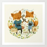 card Art Prints featuring Fox Friends by Teagan White