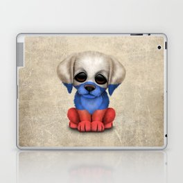 Cute Puppy Dog with flag of Russia Laptop & iPad Skin