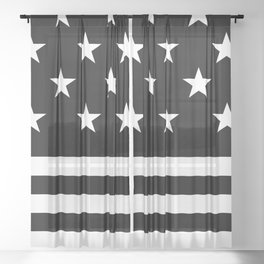 US Flag (Black/White) Sheer Curtain