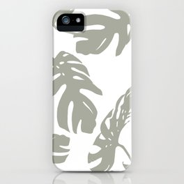 Simply Retro Gray Palm Leaves on White iPhone Case