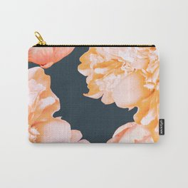 Peach Colored Flowers Dark Background #decor #society6 #buyart Carry-All Pouch
