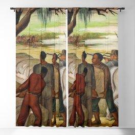 Battle of New Orleans, 1815, Chalmette, Louisiana landscape painting by Ethel Magafan Blackout Curtain