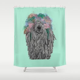 Dredlock Dog (Pastel Aqua Edition) Shower Curtain