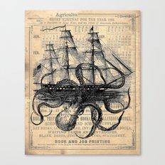 Octopus Kraken attacking Ship Antique Almanac Paper Canvas Print
