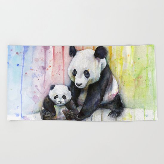 Pandas and Rainbow Watercolor Mom and Baby Panda Nursery Animals Beach Towel