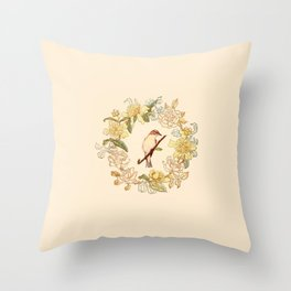 Antique Bird and Wreath Throw Pillow
