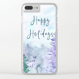 Watercolor Happy Holidays Winter Wonderland Clear iPhone Case