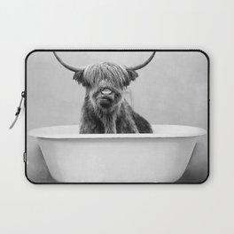 Highland Cow in a Vintage Bathtub (bw) Laptop Sleeve
