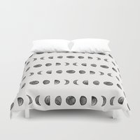 moon phases Duvet Covers featuring Moon Phases by Andre D
