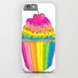 Rainbow Cupcake with Cherry on Top and Sprinkles iPhone Case